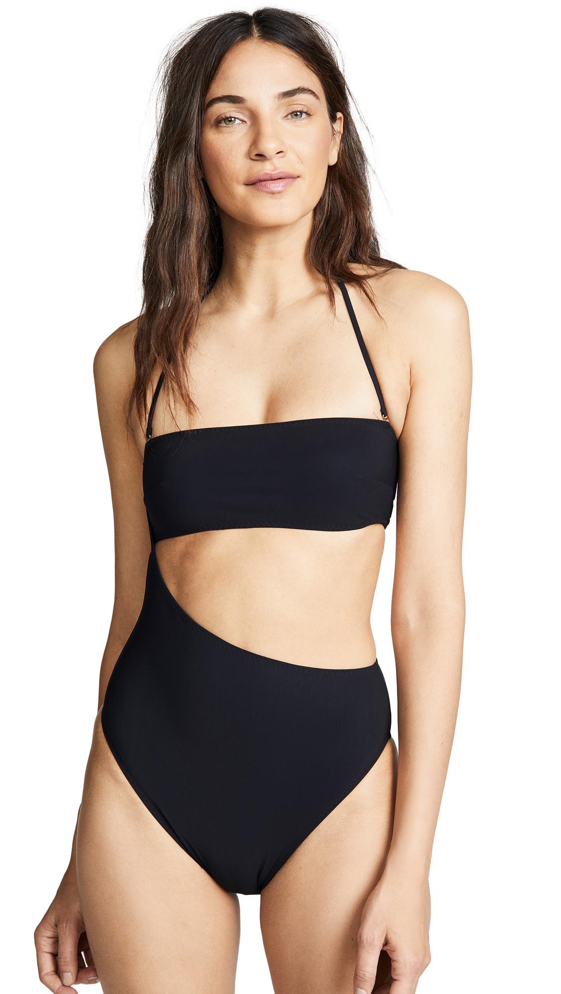 Stella Mccartney One Piece Strapless Swimsuit In Black