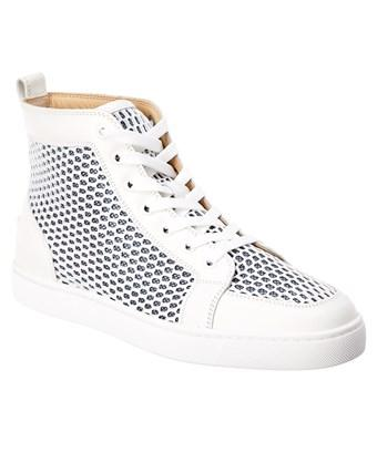 brand new 725a2 5b9a0 Christian Louboutin Ac Ranty High-Top Leather Mesh Sneaker in White