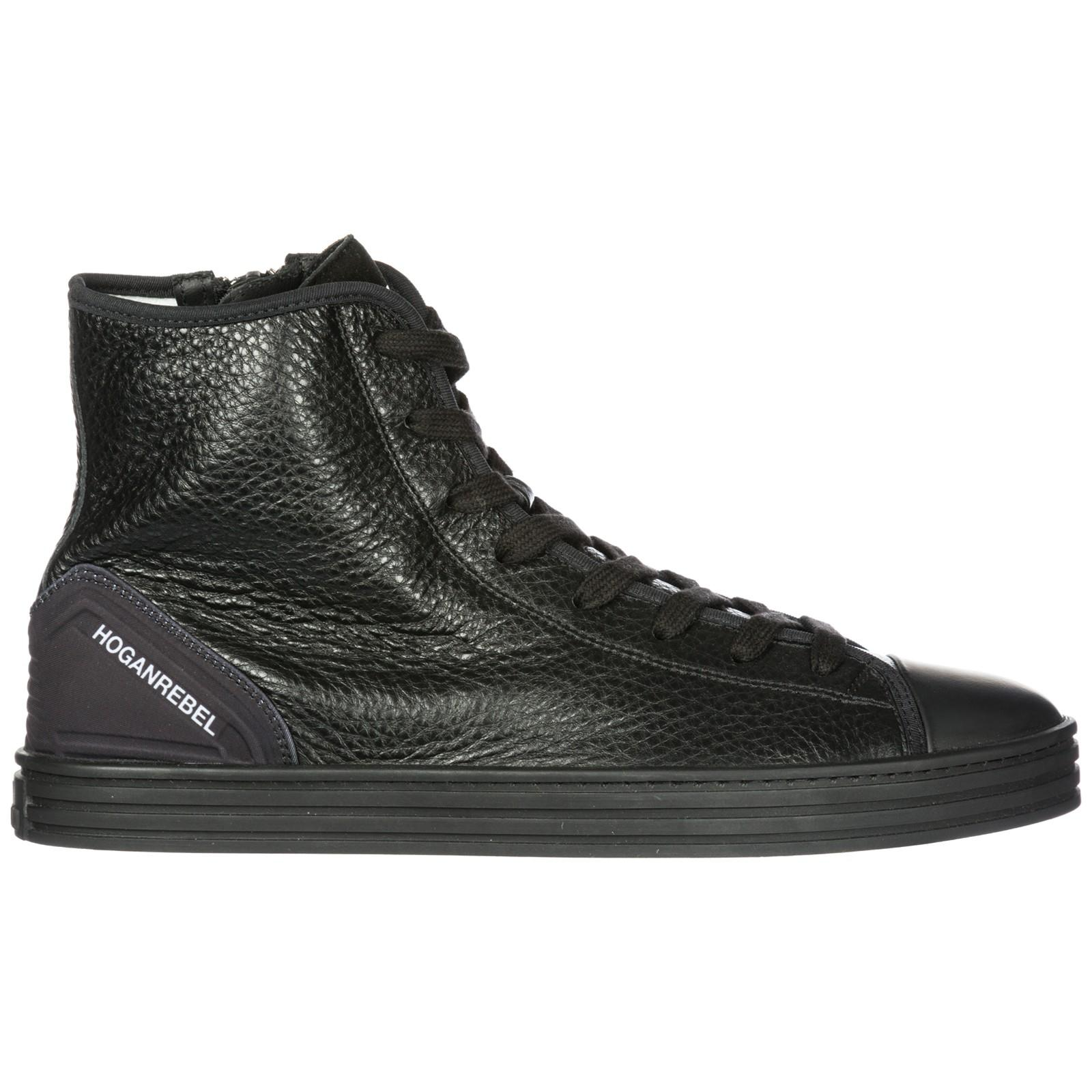 e072ffe28 Hogan Rebel Men's Shoes High Top Leather Trainers Sneakers R141 In Black