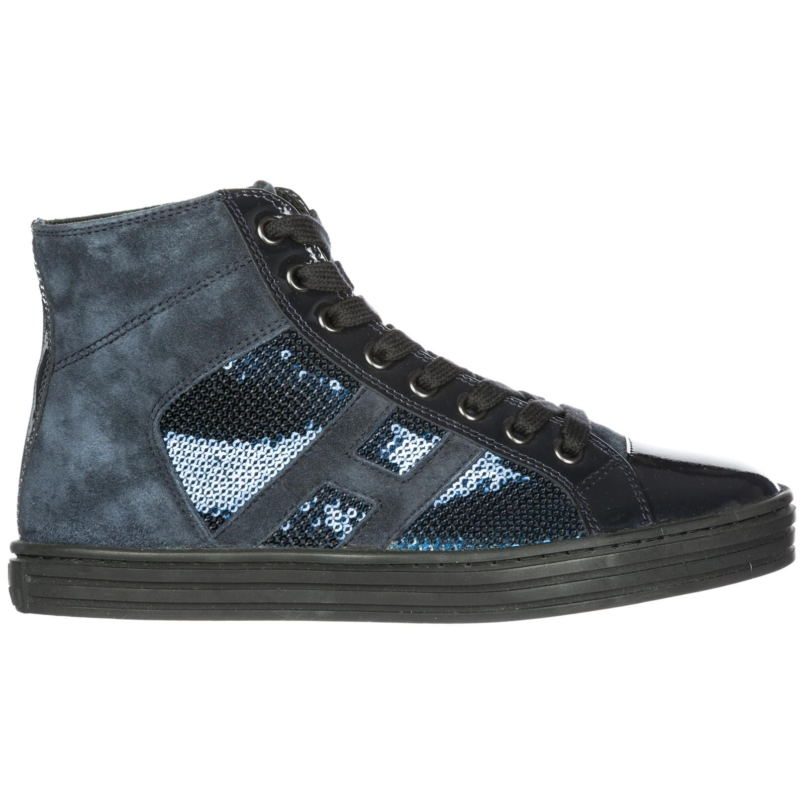 529e66b38 Hogan Rebel Women's Shoes High Top Leather Trainers Sneakers R141 In Blue