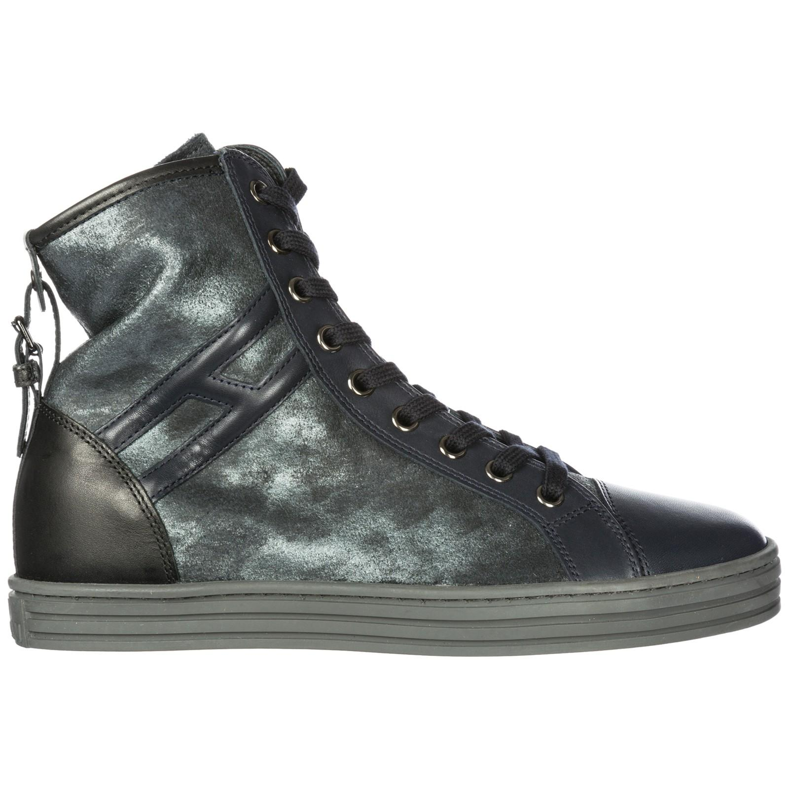 db36422f4 Hogan Rebel Women's Shoes High Top Leather Trainers Sneakers R182 In Blue