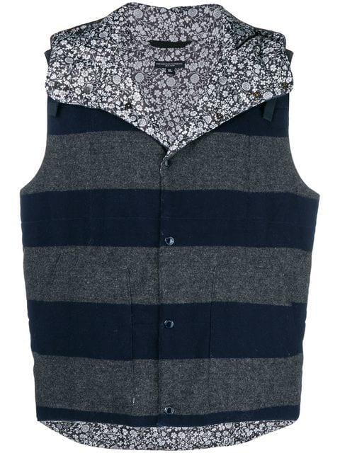 Engineered Garments Striped Reversible Gilet In Blue