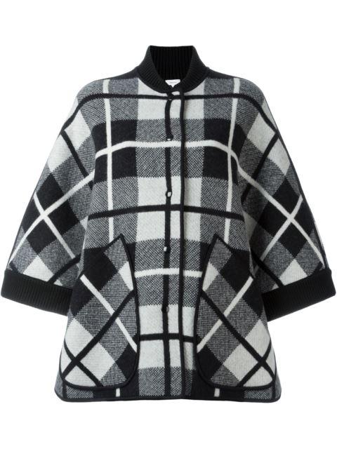 M Missoni Madras Plaid Knit Wool Cape, Black In Black/White
