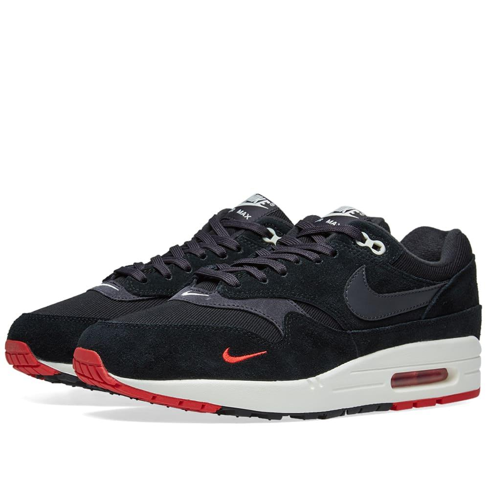 388619435a Nike Air Max 1 Premium Black Suede And Fabric Sneaker | ModeSens