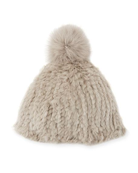 8874994063e Adrienne Landau Knitted Rabbit Fur Pompom Beanie In Light Gray ...
