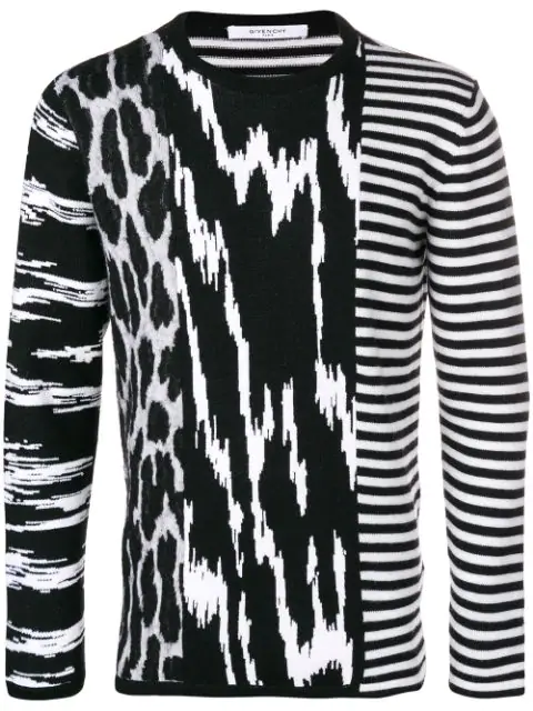 Givenchy Men's Animal-Intarsia Striped Crewneck Wool Sweater In Black