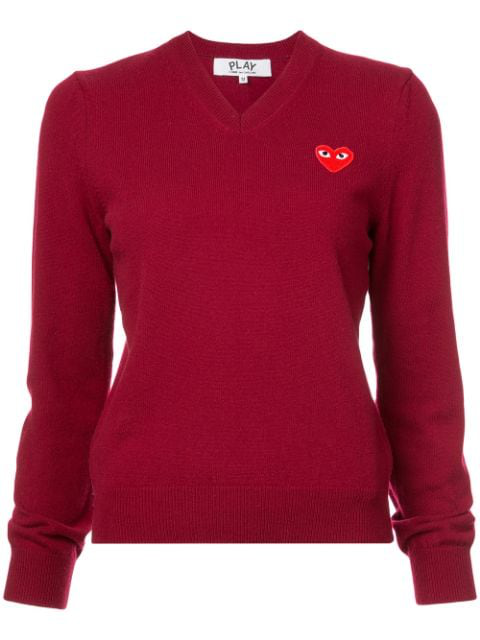 Comme Des Garçons Play Women's V-neck Wool Heart Sweater In Red
