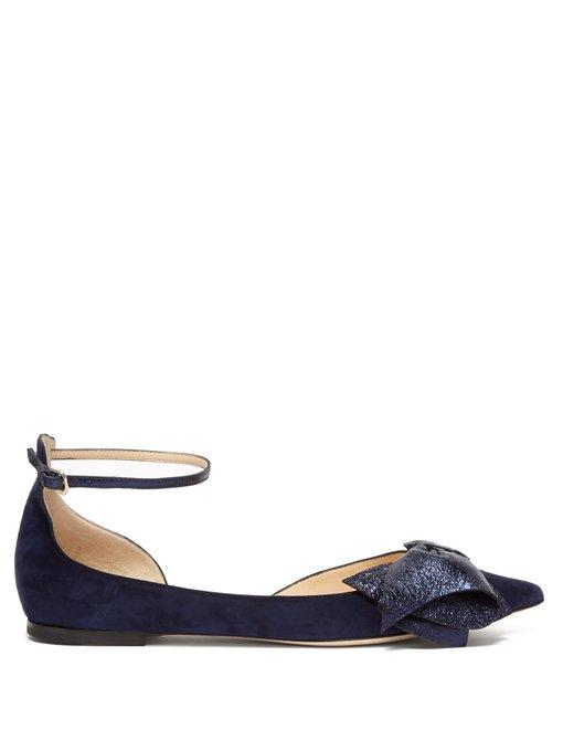 33895827b3e3 Jimmy Choo Kaitlyn Bow-Embellished Suede Flats In Navy