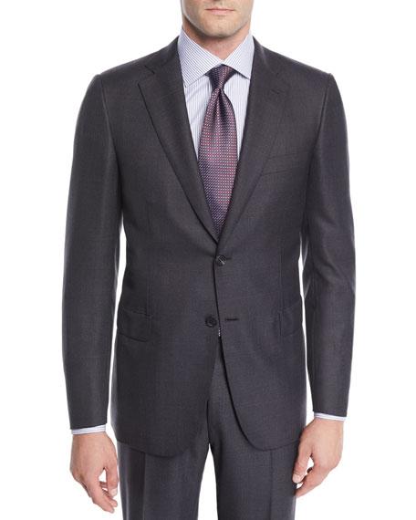 Brioni Men's Wool Windowpane Two-Piece Suit In Gray