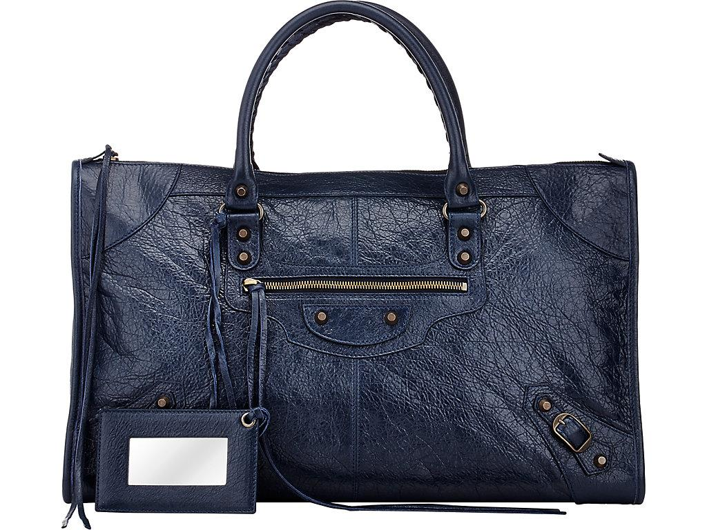 Balenciaga Arena Leather Classic Work Bag In Open Blue
