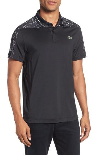 f14833bb Lacoste Regular Fit Novak Djokovic Ultra Dry Polo In Black/ White ...