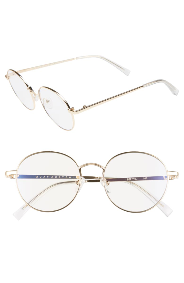Quay Women's I See You Blue Light Round Glasses, 52.5mm In Gold/ Clear