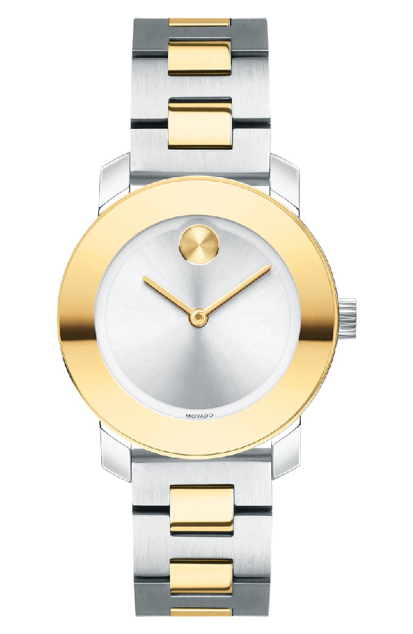 Movado Bold Two-Tone Stainless Steel Bracelet Watch In Gold/ Silver