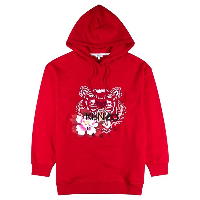 Kenzo Tiger-Embroidered Cotton Sweatshirt In Red