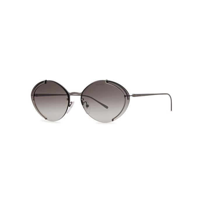 1d5baf0ff0 Prada Gunmetal Oval-Frame Sunglasses. Harvey Nichols