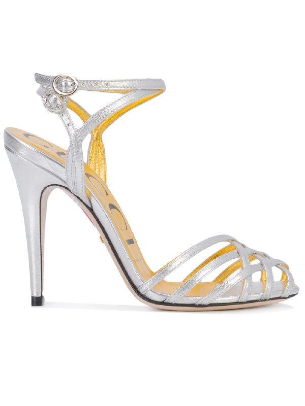 3920ff983 Gucci Draconia Metallic Leather Sandals - Silver | ModeSens