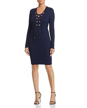 0ebd1a9b8a9 Michael Michael Kors Lace-Up Rib Sweater Dress In True Navy