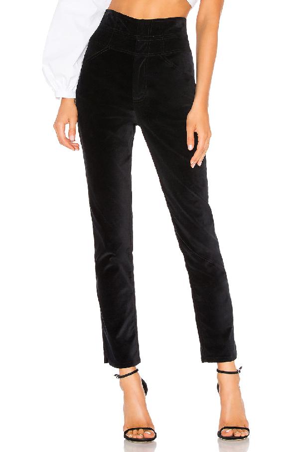 Rebecca Taylor Velveteen Straight-Leg Pants In Black