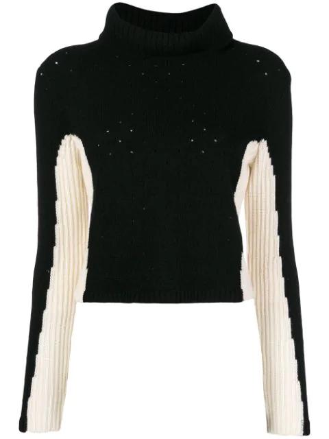 Cashmere In Love Cashmere Color-block Jumper In Black