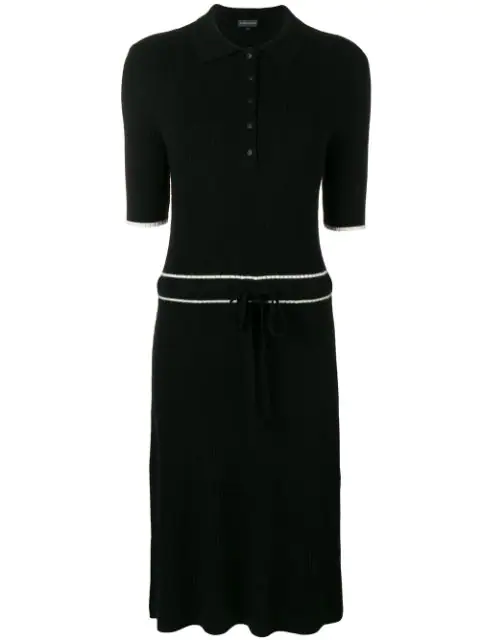 Cashmere In Love Cashmere Blend Ribbed Knit Dress In Black