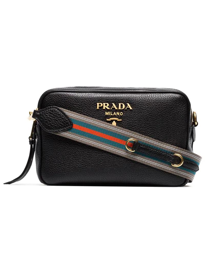 5e4c1763ba9a Prada Black Logo Double Strap Leather Camera Bag