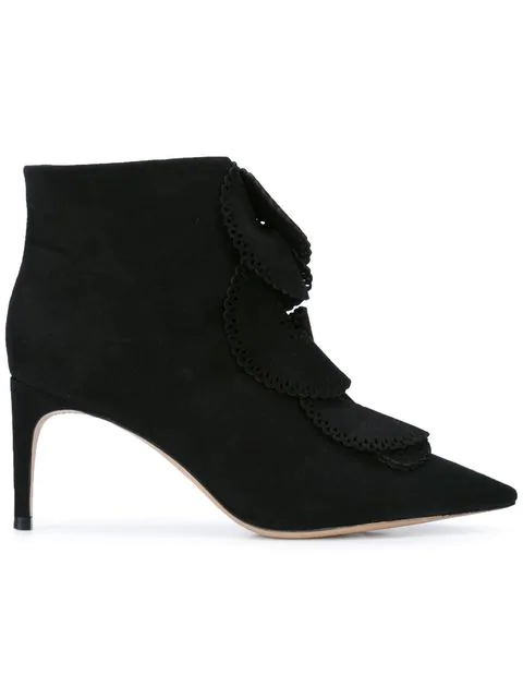 Sophia Webster Perforated Ruffle Boots - Black