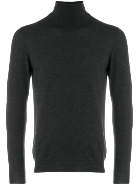 Zanone Roll-neck Fitted Sweater In Grey