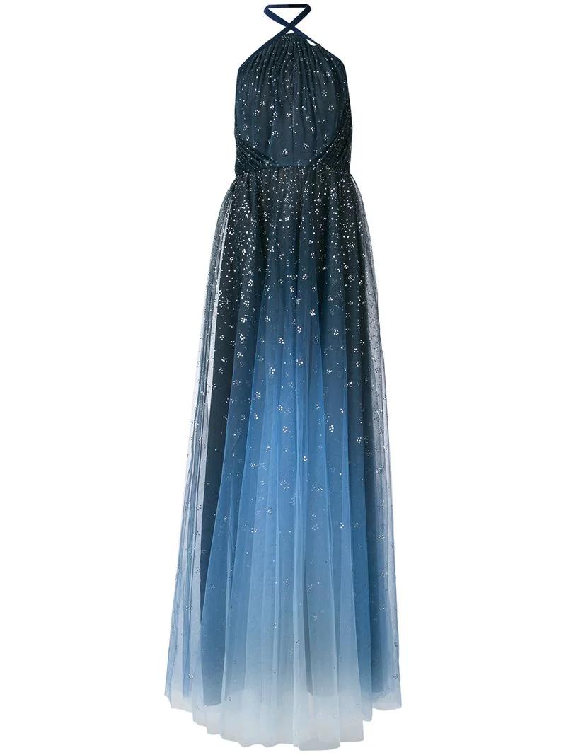 9e516ec8 Marchesa Notte Ombré Glitter Tulle Halter Gown - Blue   ModeSens