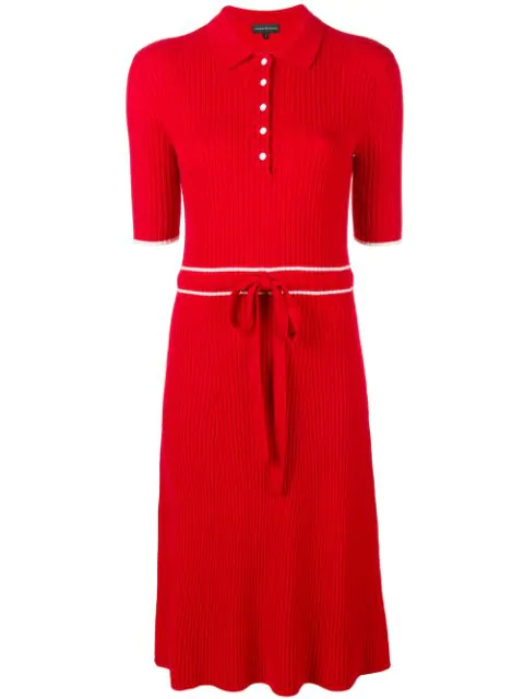 Cashmere In Love Cashmere Blend Ribbed Knit Dress In Red