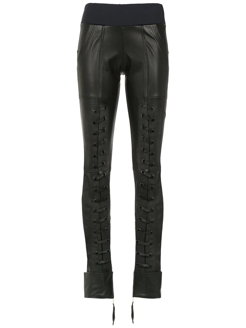 Andrea BlackModesens Bogosian Detail Leather Trousers Lace Up iOPkuXZ
