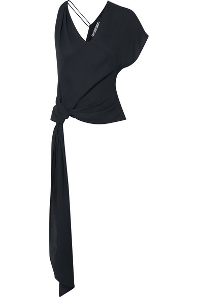 Jacquemus PassÓ Asymmetric Knotted Crepe Top In Navy