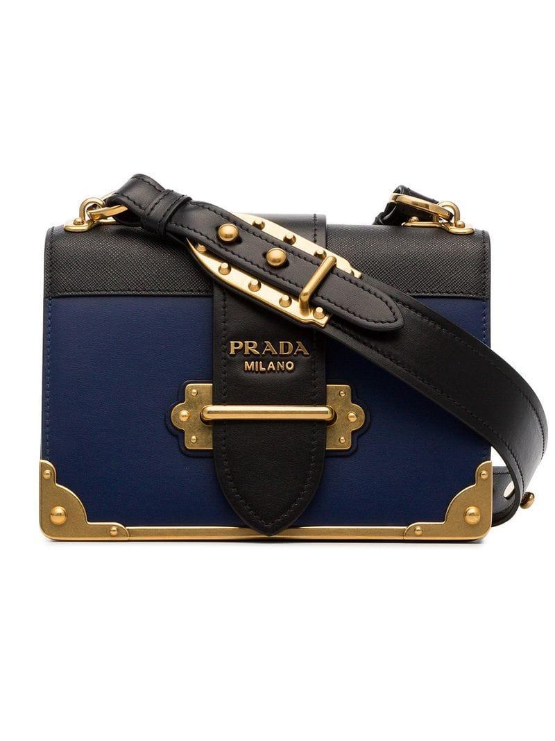 0084d2ba20413a Prada Navy Blue And Black Cahier Leather Crossbody Bag | ModeSens