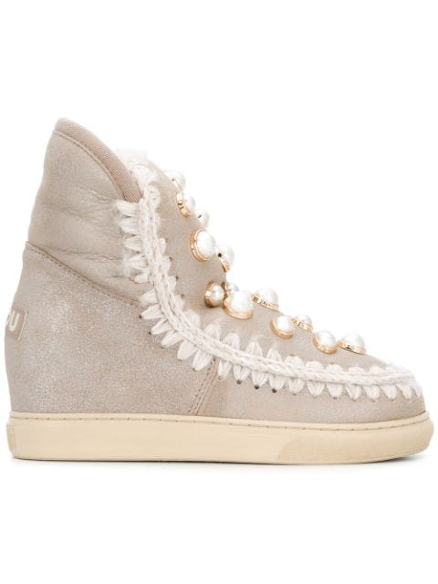 Mou Inner Wedge Sneaker Boots - Neutrals