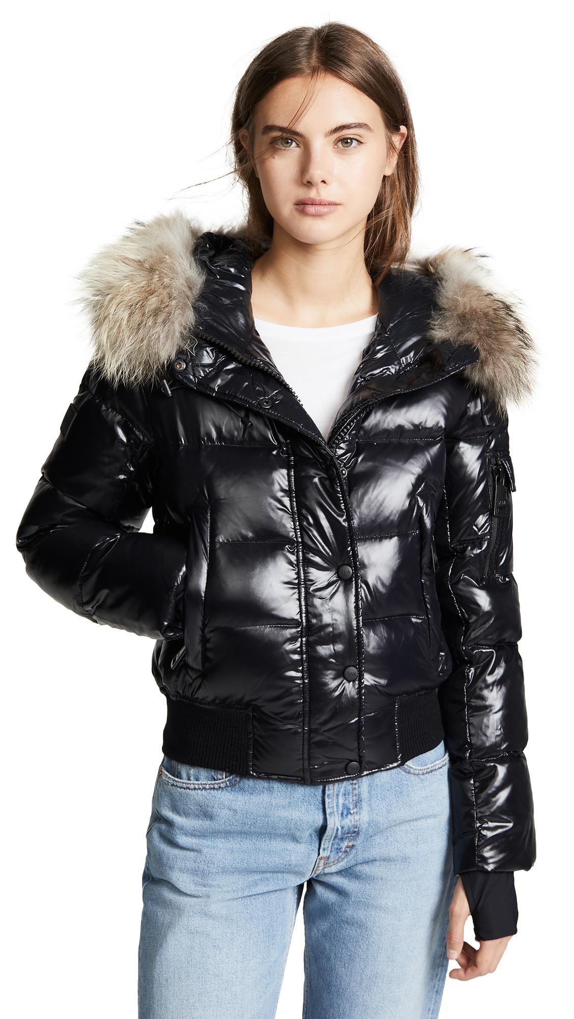 f8c26c841706 Sam. Skyler Short Down Jacket With Fur In Jet