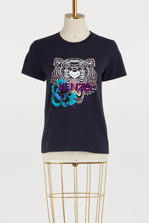 352d4121 Kenzo Cotton Tiger And Flower T-Shirt In Blue | ModeSens