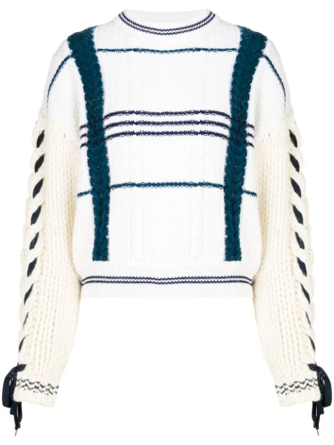 Carven Cable-Knit Wool And Alpaca-Blend Sweater In White