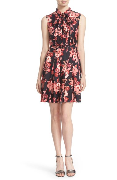Kate Spade 'shadow Buds' Print Pleated Silk Dress In Black