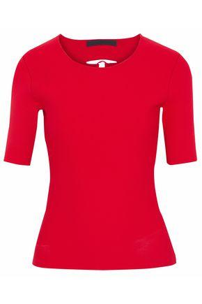 Alexander Wang Woman Lace-Up Back Ribbed-Knit Top Red
