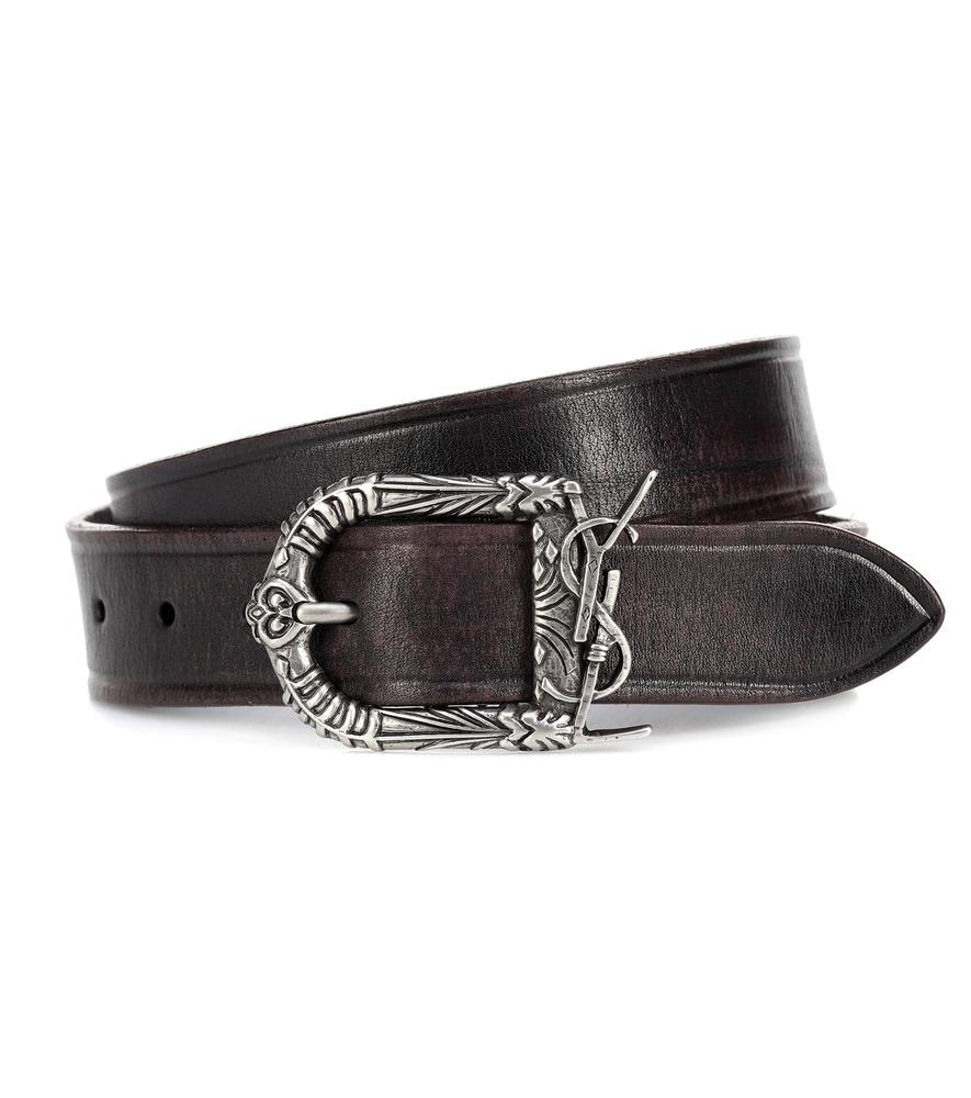 856cb1f3bebfe Saint Laurent Monogram Celtic Leather Belt In Black