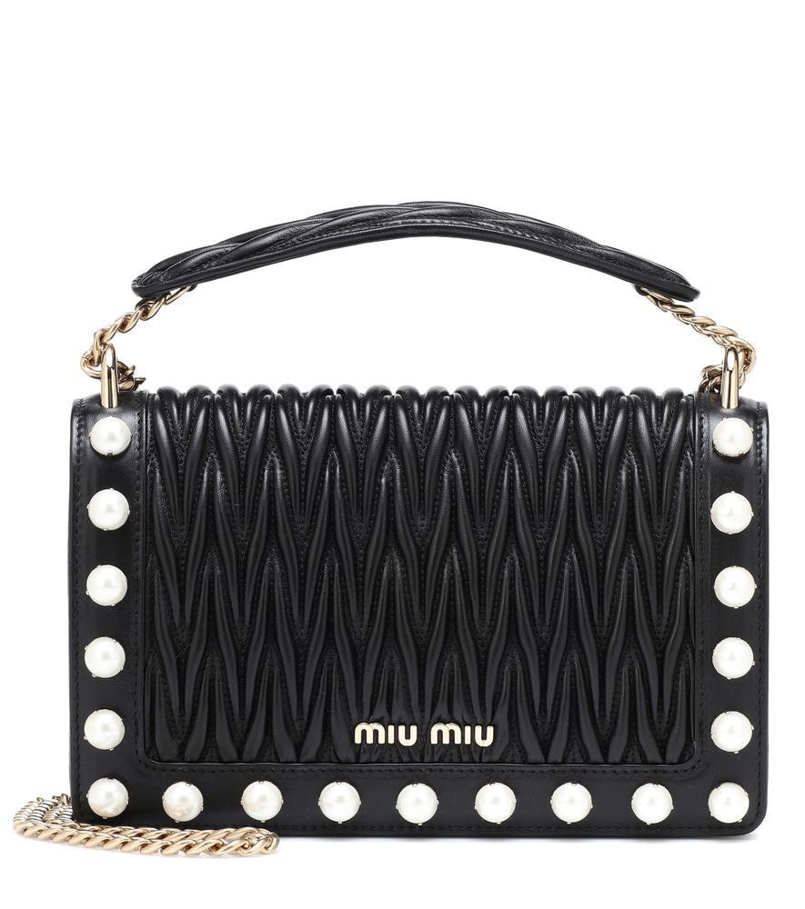 221765e7426e Miu Miu Imitation Pearl   Matelasse Leather Crossbody Bag - Black ...