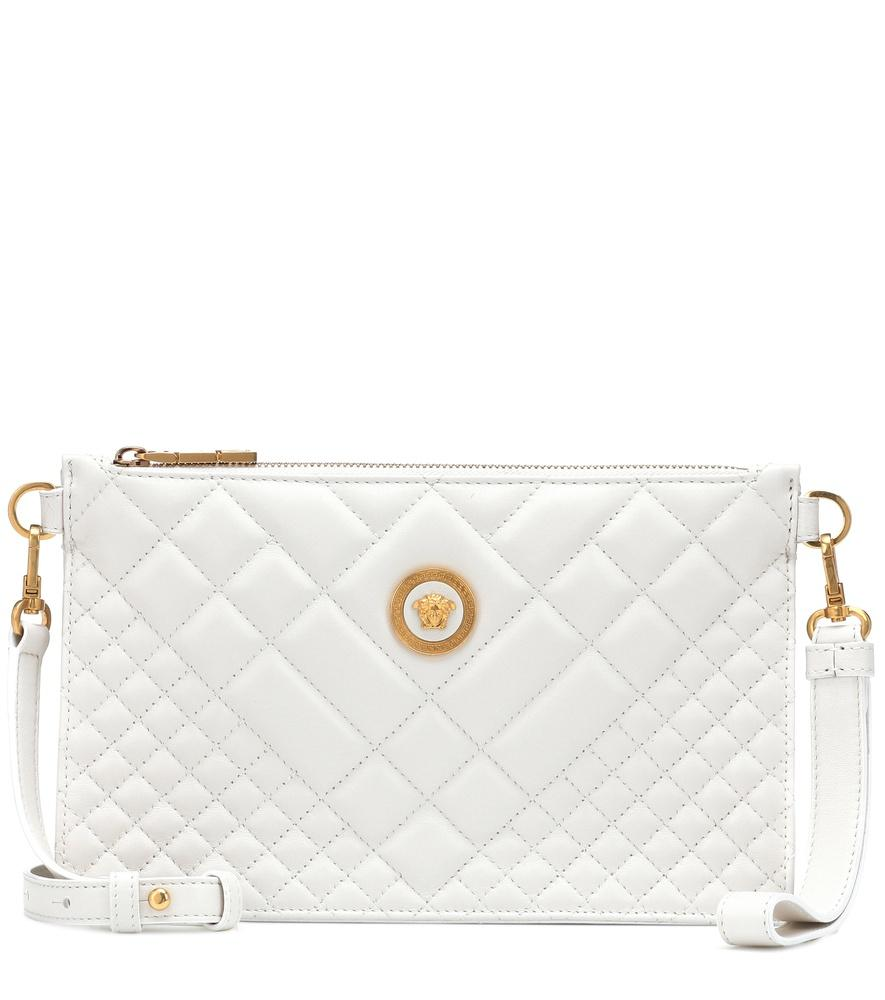 Versace Quilted Leather Shoulder Bag In White