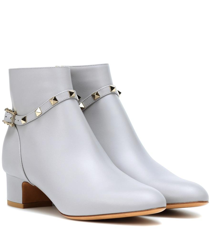 Valentino Rockstud Leather Ankle Boots In Grey