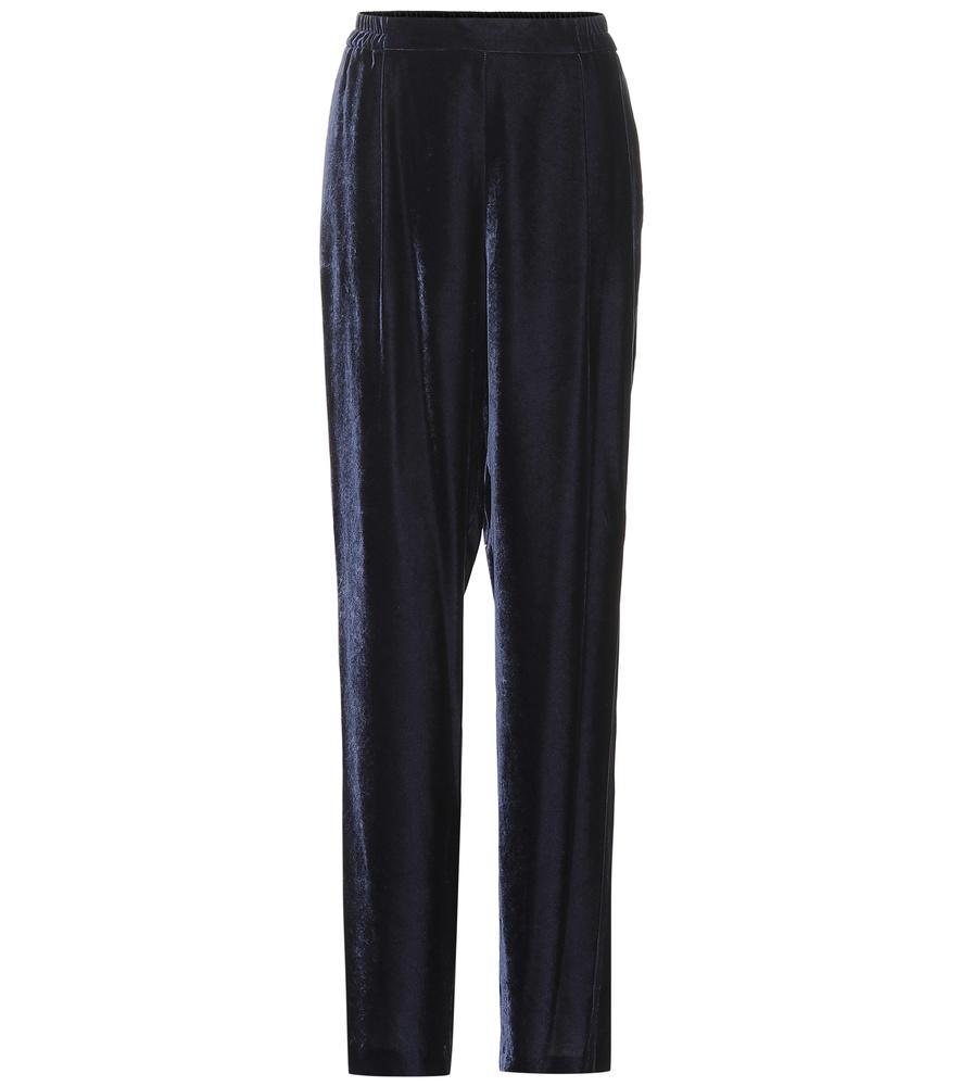 Stella Mccartney Velvet Wide-Leg Pants In Blue