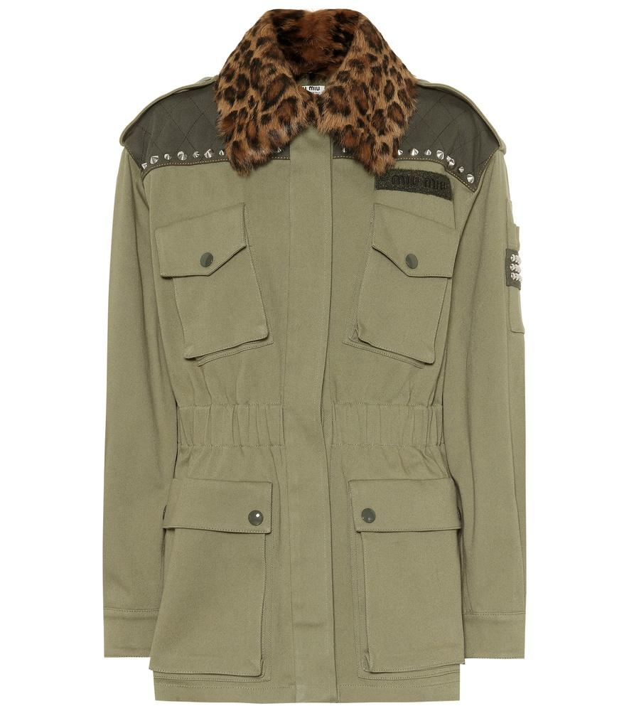 ffd3795ada1 Miu Miu Leopard-Print Fur Collar Cotton Drill Utility Jacket In Green