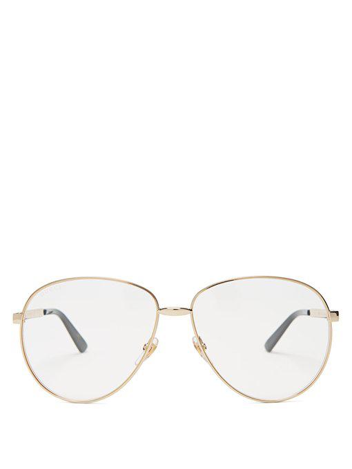 22304e2c9e14 Gucci Aviator-Style Gold-Tone And Enamel Optical Glasses