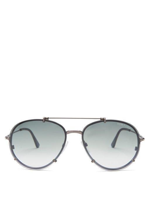 Tom Ford Dickon Aviator Sunglasses In Silver