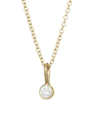 ZoË Chicco 14K Yellow Gold & Diamond Chain Pendant Necklace