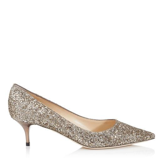 80860624cee Jimmy Choo Aza Antique Gold Shadow Coarse Glitter Fabric Pointy Toe Pumps