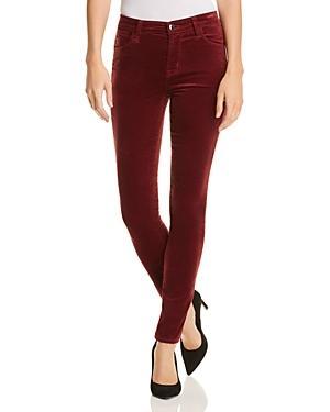 J Brand Maria High Waist Velvet Skinny Jeans In Oxblood