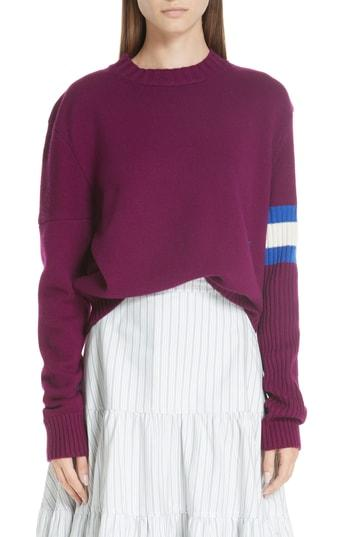 3bf17c7ba06 Calvin Klein 205W39Nyc Cashmere Stripe Sleeve Sweater In Deep Purple Bright  Blue White